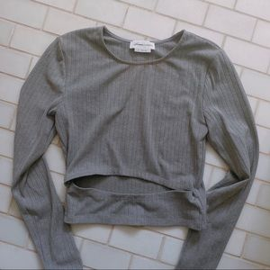LOVERS + FRIENDS GREY LONG-SLEEVE WITH SLIT